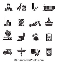 Plumber service black icons collection
