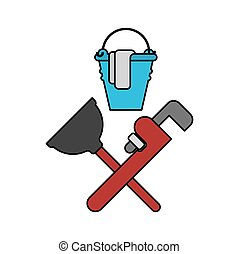 Plumber service emblem. Plumber and Logo Cleaning. rubber plunger and adjustable wrench. Bucket for washing