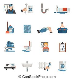 Plumber service flat icons collection