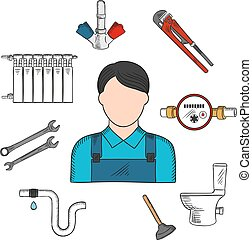 Plumber sketch icon with hand tools and equipments