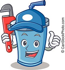 Plumber soda drink character cartoon