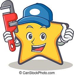 Plumber star character cartoon style