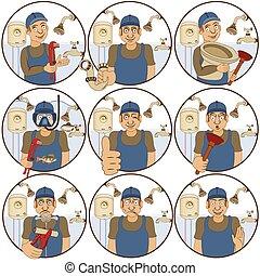 plumber stickers - illustration of nine different plumber ...