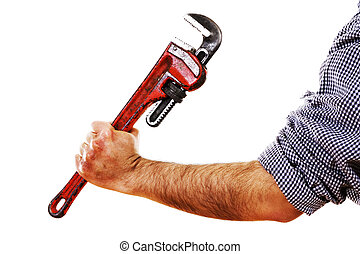 Plumber - Stock image of man holding red pipe wrench,...