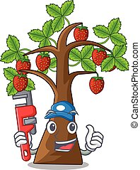 Plumber strawberry tree isolated with the cartoon