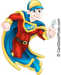 Plumber Super Hero - Cartoon mechanic or plumber superhero...