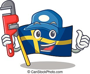 Plumber swede flags flutter on character pole vector ...