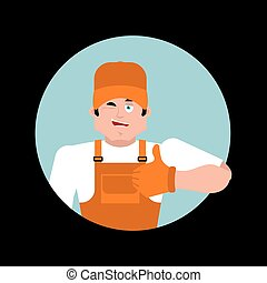 Plumber thumbs up. Fitter winks emoji. Service worker Serviceman cheerful. Vector illustration