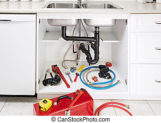 Plumber tools, kitchen sink