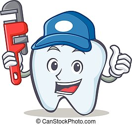 Plumber tooth character cartoon style