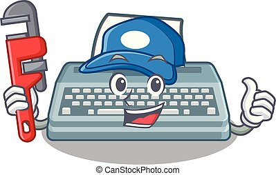 Plumber typewriter in the a mascot closet