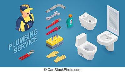 Plumber, washbasin, toilet, bidet, and instrument. Isometric icons. Vector.