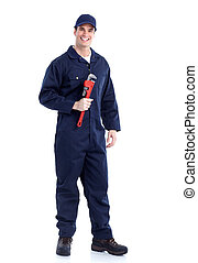 Plumber with an adjustable wrench.