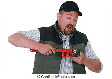 Plumber with an adjustable wrench