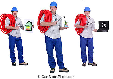 Plumber with an energy rating card and laptop