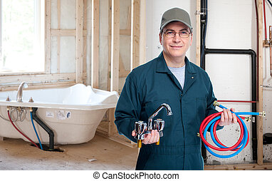 Plumber with faucet. - Professional plumber with a faucet....