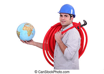 Plumber with globe in hand