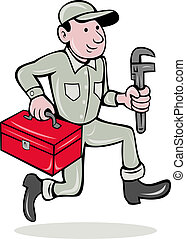 plumber with monkey wrench and toolbox - illustration of a...