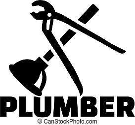 Plumber with pipe wrench und plunger
