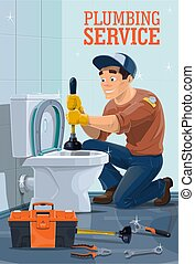 Plumber with toilet, plunger, wrench and spanner - Plumbing ...