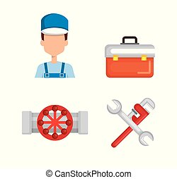 plumber with tool set