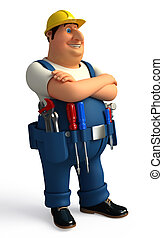 Plumber with tools - 3d rendered illustration of Plumber...