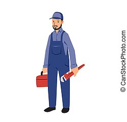 Plumber with tools. Flat vector illustration. Isolated on white background.