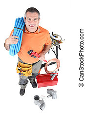 Plumber with tools of the trade