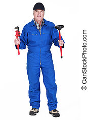 Plumber with wrench and plunger