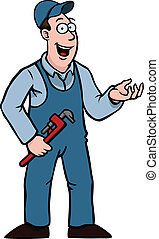 Plumber in overall with a wrench showing something