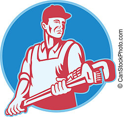 plumber Worker Monkey Wrench Retro - Retro illustration of a...