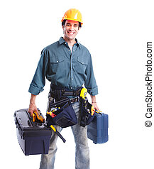Plumber worker. - Professional plumber with tools. Isolated...