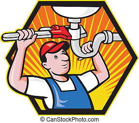 Plumber Worker With Adjustable Wrench - Cartoon illustration...