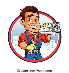 plumber worker with key in the hand