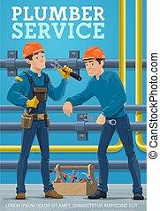 Plumber workers, pipes plumbing and repair service