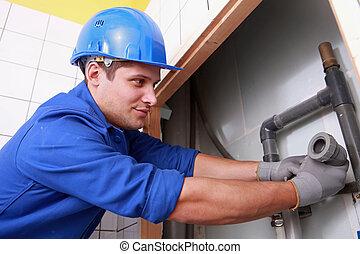 Plumbers install drainage
