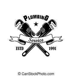 Plumbers spanners vector illustration. Crossed adjustable wrenches and service text on ribbon. Plumbing or job concept for emblems and labels templates