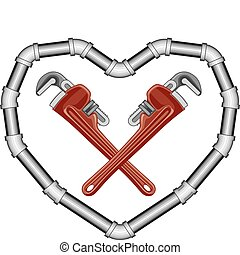 Illustration of crossed plumbers wrenches inside of a heart made of pipe.