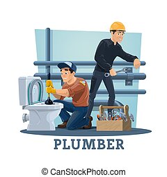 Plumbers with work tools, plumbing service workers - ...