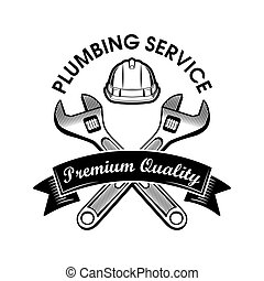 Plumbers wrenches vector illustration. Crossed adjustable spanners, hardhat and service text on ribbon. Plumbing or job concept for emblems and labels templates