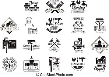 Plumbing And Repairing Service Black And White Sign Design Templates With Text And Instrument Silhouettes. Collection Of Monochrome Vector Emblems For Repair Company Advertisement.