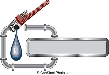 Illustration of a plumbing design with pipes, adjustable wrench and banner for your text.