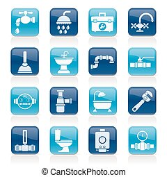 plumbing equipment icons - plumbing objects and tools...