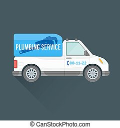 plumbing express service cargo vehicle - vector white blue...