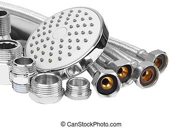 Plumbing fitting, hosepipe and showerhead, isolated on white...