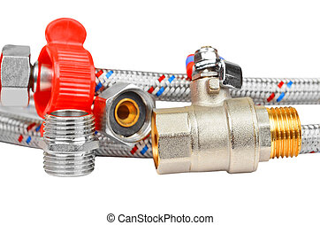 Plumbing fitting, tap and hosepipe, isolated on white...