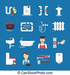 Plumbing Flat Icons Collection Blue Background - Plumber ...