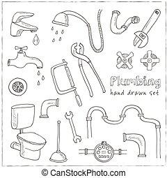 Plumbing hand drawn decorative icons set
