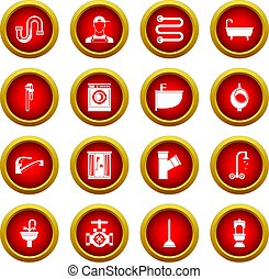 Plumbing icon red circle set
