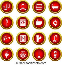 Plumbing icon red circle set